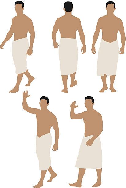 ilustrações de stock, clip art, desenhos animados e ícones de tronco nu homem envolto em toalha - tronco nu