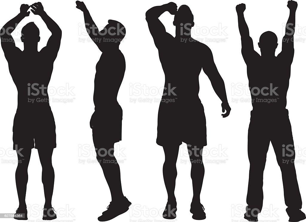 Muskuläre Nackter Oberkörper Mann Jubel Stock Vektor Art und mehr ...