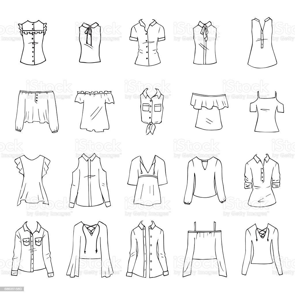 Shirts and blouses - ilustración de arte vectorial