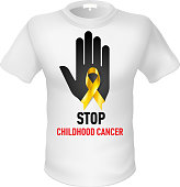 White t-shirt with sign childhood cancer. Black hand with yellow ribbon
