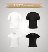 Set of black and white t shirt for men and women