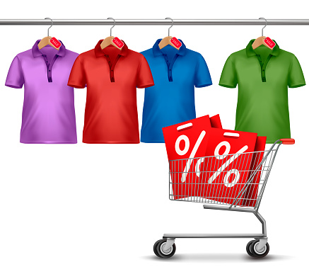 Shirts hanging on a bar and a shopping cart. Concept of discount shopping. Vector.
