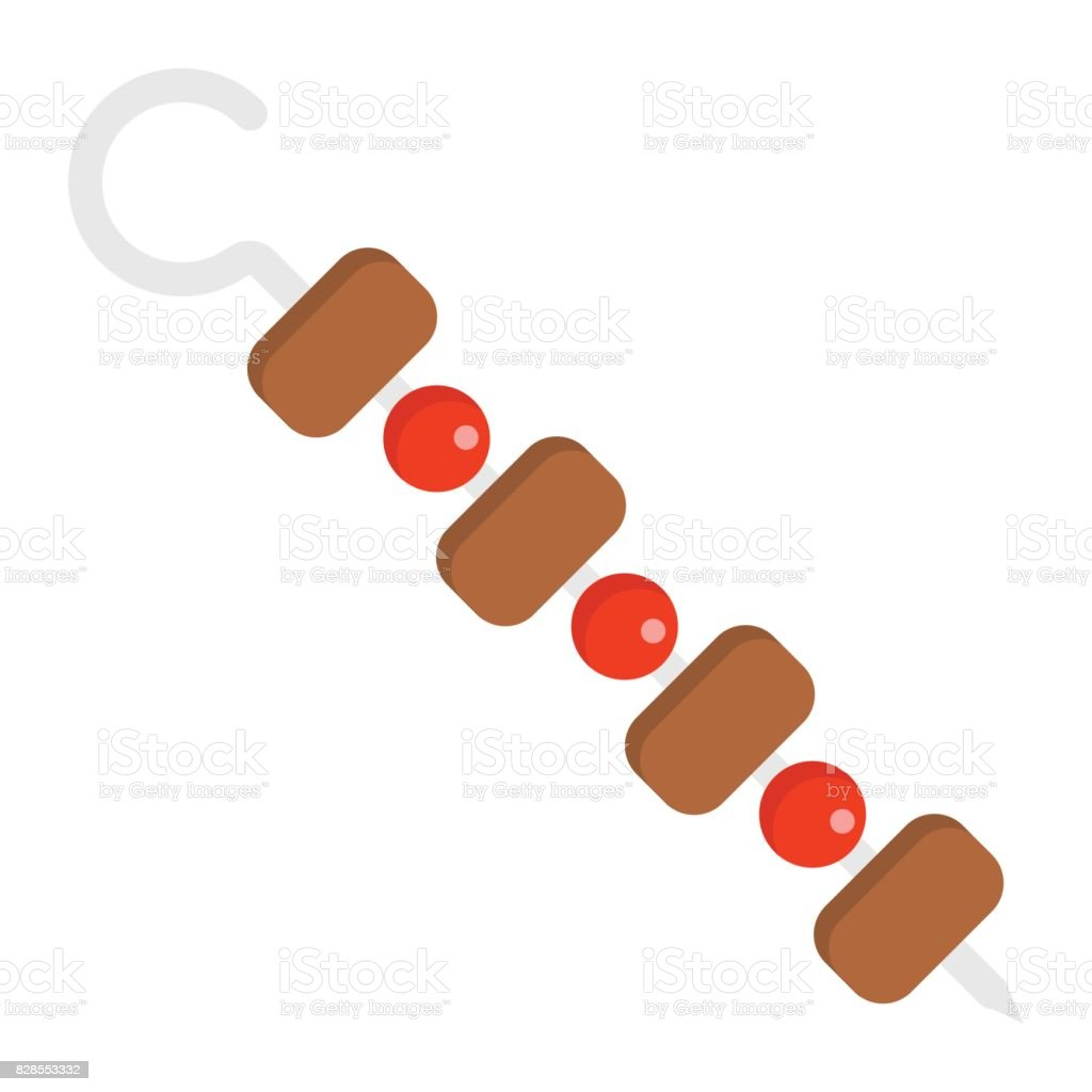 Shish kebab on skewers flat icon, food and drink, barbecue sign vector graphics, a colorful solid pattern on a white background, eps 10. vector art illustration