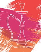 Shisha, hookah hand drawn doodle vector.Colorful illustration