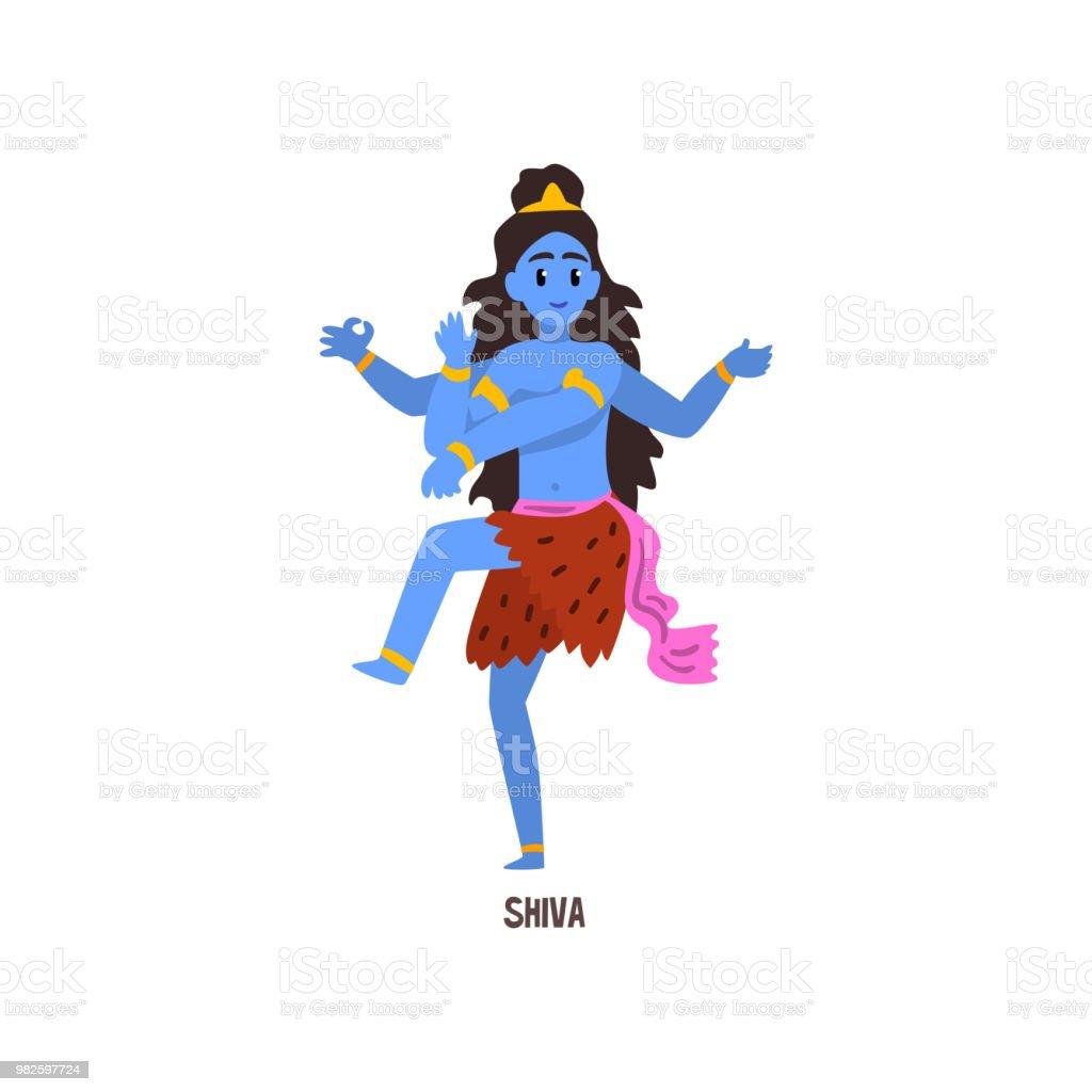 Vetores De Vetor De Personagem De Desenho Animado Shiva Indiano