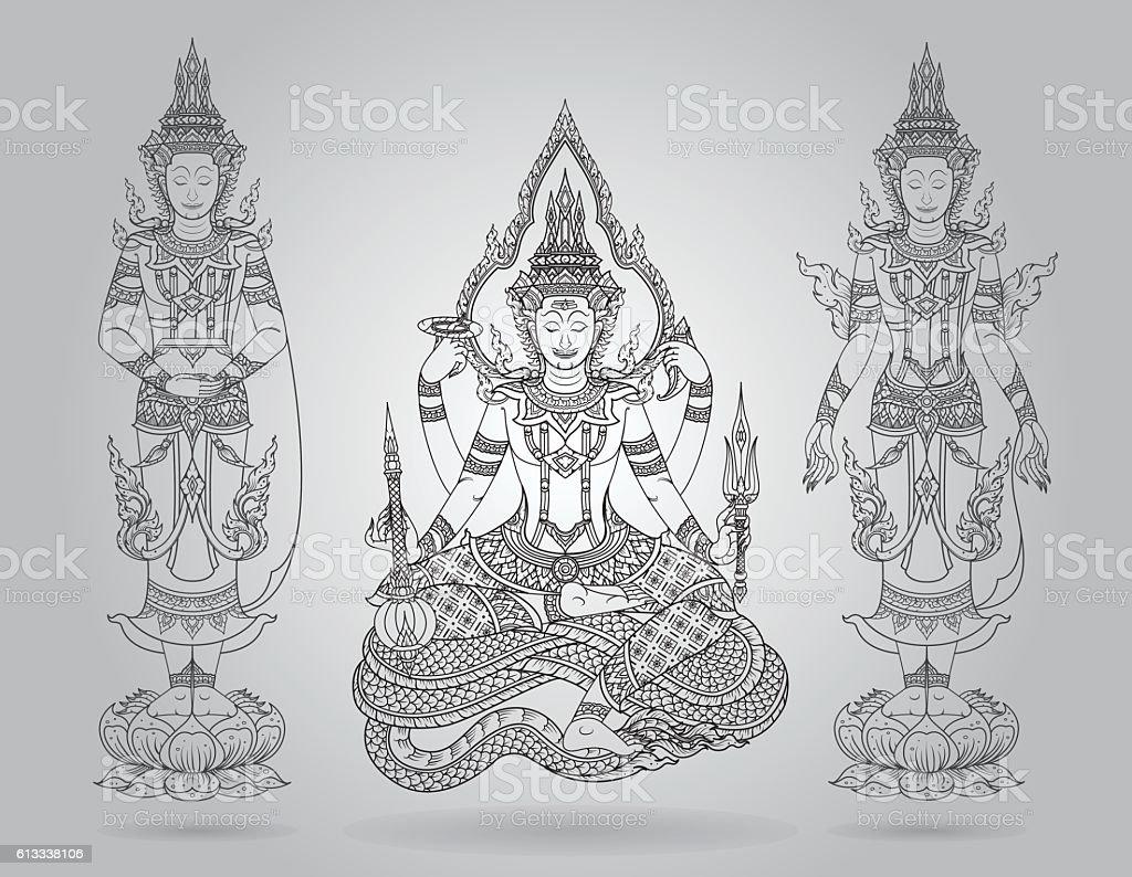 shiva of line thai tradition,buddha jewelry set vector art illustration