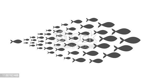 Shoal of fish. Vector illustration.