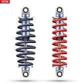 Shock Absorber of Car Suspension. Machine part closeup equipment. Vector Illustration isolated on white background.