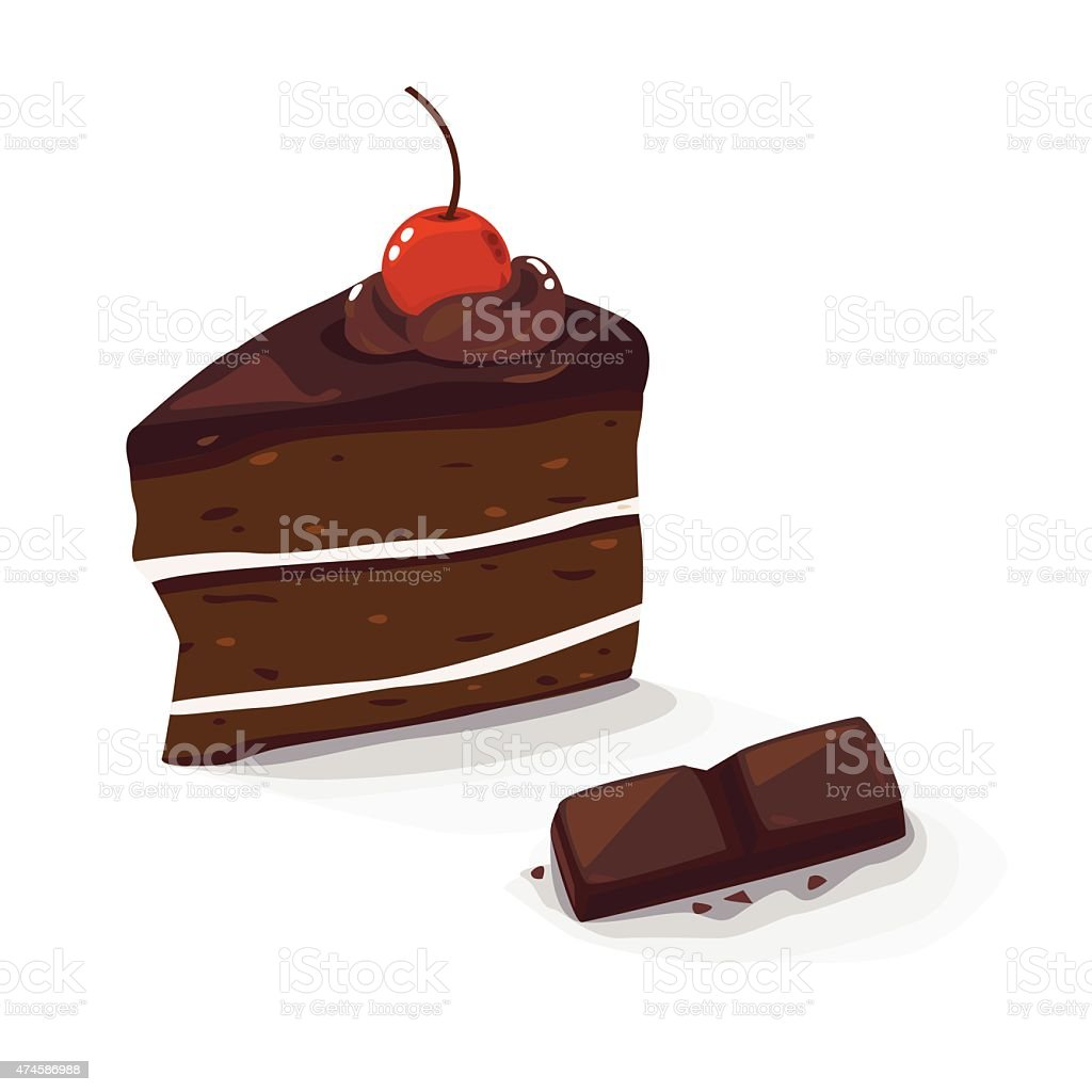 choc cake vector art illustration