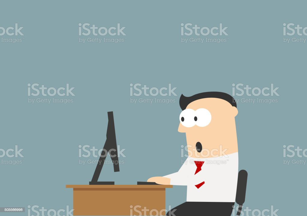 Shocked businessman looking at the monitor vector art illustration