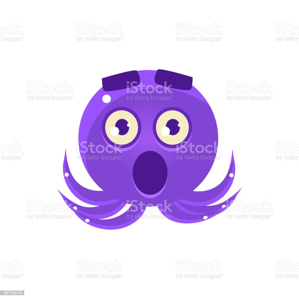 Shocked Funny Octopus Emoji Stock Vector Art & More Images of
