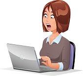 Shocked Woman At Laptop
