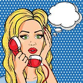 Vector shocked woman on phone with thought bubble, pop art comic style