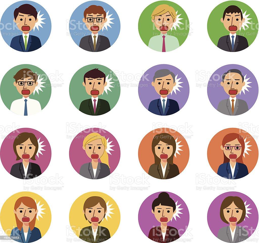 Shocking business people vector art illustration