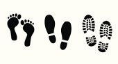 Shoe and bare foot print set