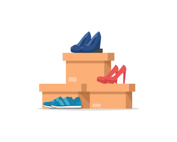 schuhkartons mit damenschuhen, herrenschuhe - eleganter schuh stock-grafiken, -clipart, -cartoons und -symbole