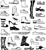 A variety of shoes in a doodle style.