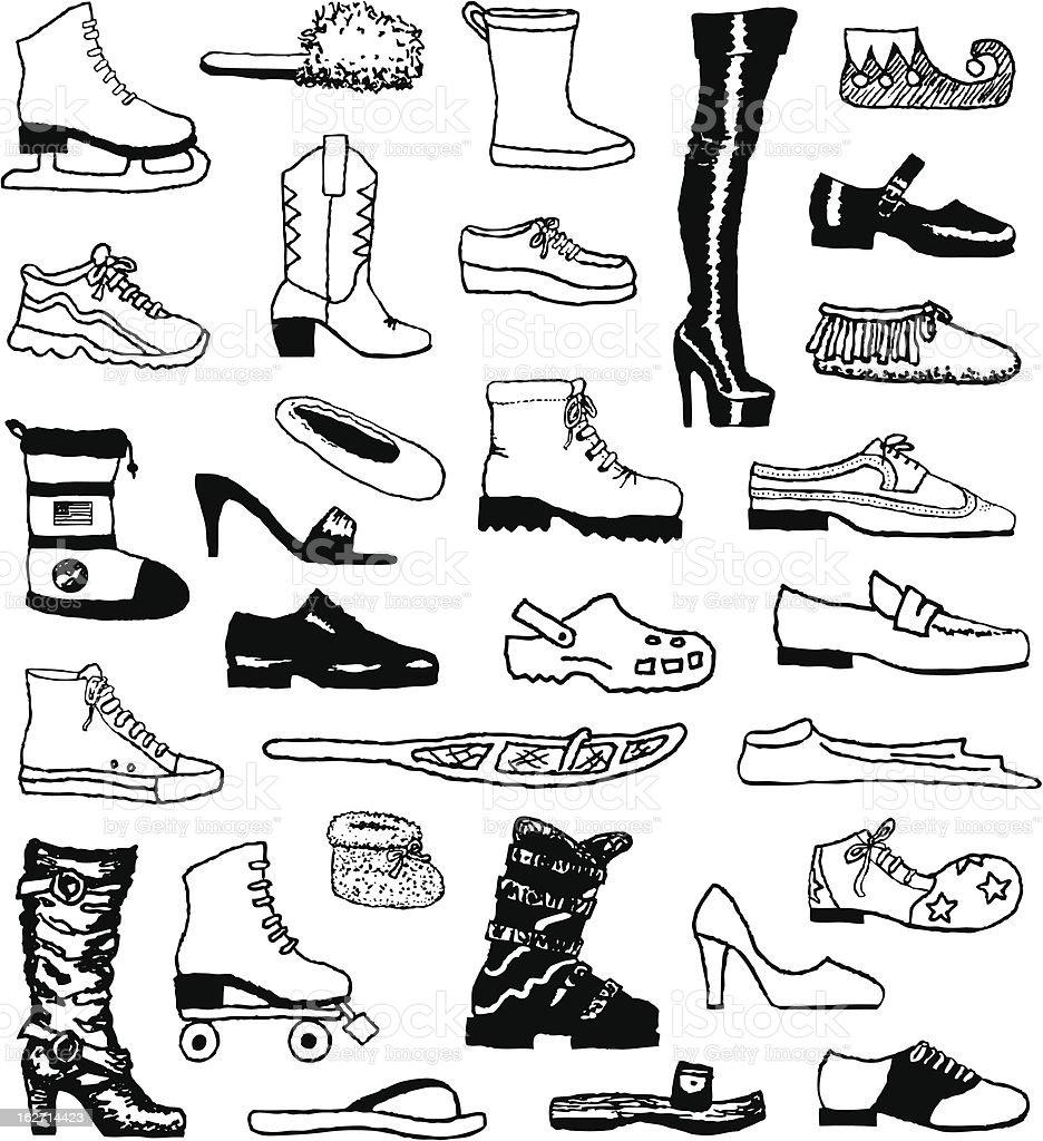 Shoe Doodles vector art illustration