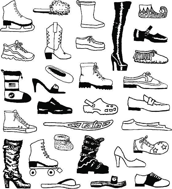 schuh und kritzeleien - rollschuh stock-grafiken, -clipart, -cartoons und -symbole