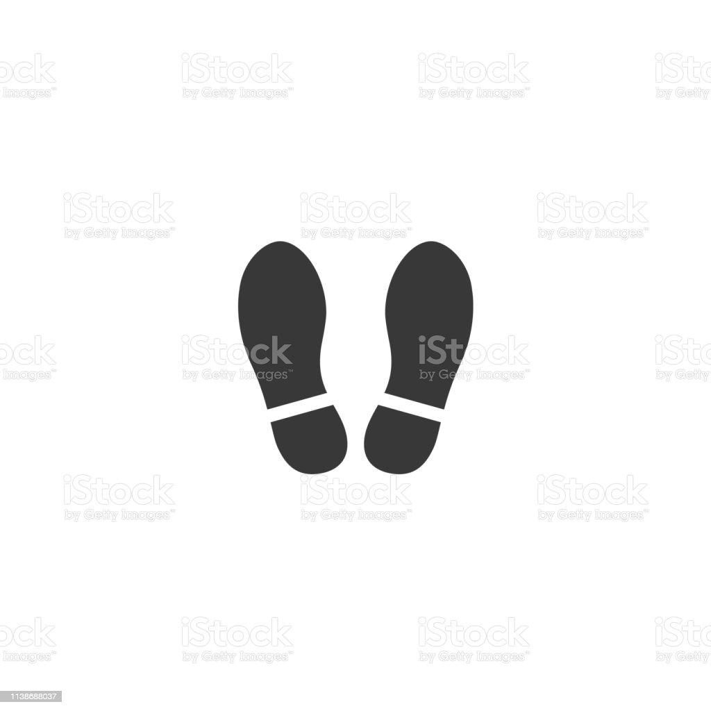 鞋印圖示。向量腳穿。扁平的風格。黑色剪影。在白色背景查出的例證 - 免版稅一個物體圖庫向量圖形