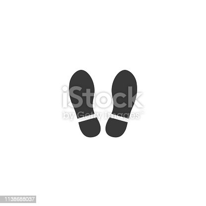 Shoe footprint icon. Vector foot wears. Flat style. Black silhouettes. Illustration isolated on white background.