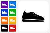 Shoe Icon Square Button Set. The icon is in black on a white square with rounded corners. The are eight alternative button options on the left in purple, blue, navy, green, orange, yellow, black and red colors. The icon is in white against these vibrant backgrounds. The illustration is flat and will work well both online and in print.