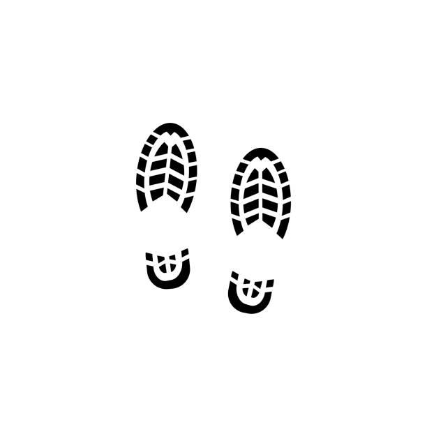 shoe print icon - оттиск stock illustrations