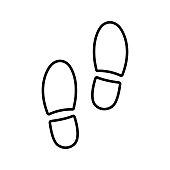 Shoe print icon. Vector illustration foot symbol on white background.