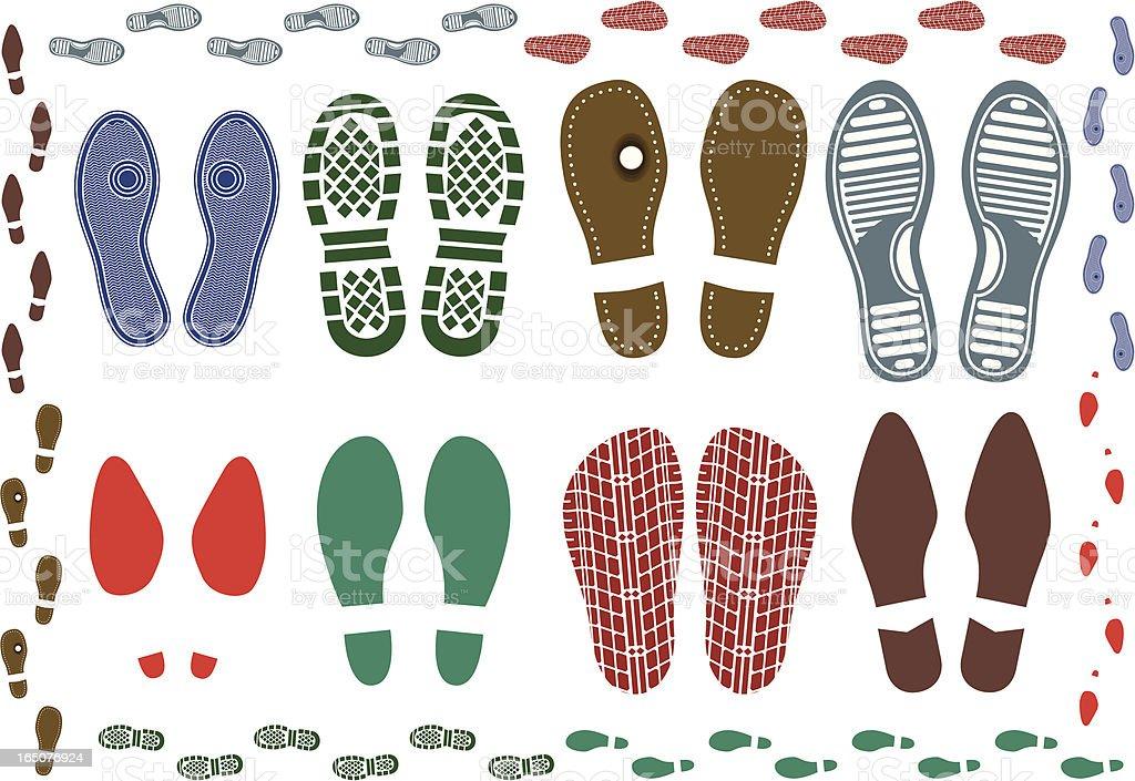 Shoe prints vector art illustration