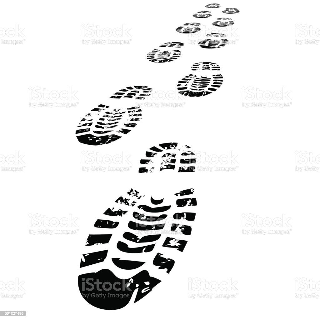 Shoe Prints Walking Forwards vector art illustration