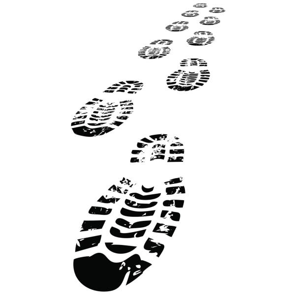 shoe prints walking forwards - boot stock illustrations