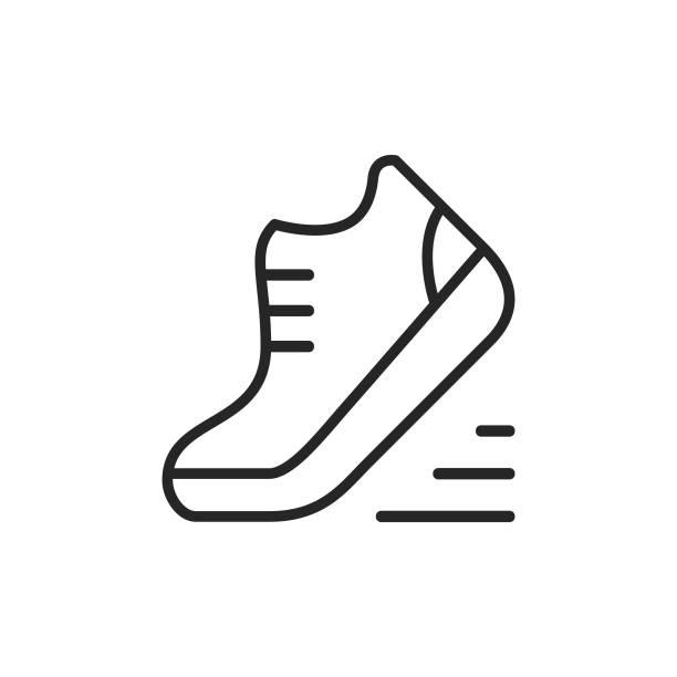 ikona buta, linii do biegania. edytowalny obrys. pixel perfect. dla urządzeń mobilnych i sieci web. - but sportowy stock illustrations