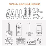 Vector icons collections with different type of shoes and shoe shine machines. Shoe Shine service. Outline icon for shoe care in trendy linear style.