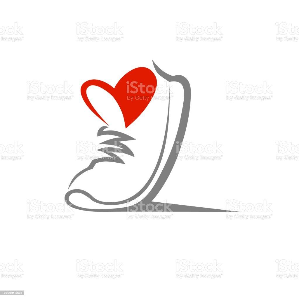 Sapato símbolo, ícone. Conceito de esporte amoroso - ilustração de arte em vetor
