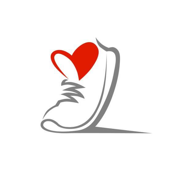 ilustrações, clipart, desenhos animados e ícones de sapato símbolo, ícone. conceito de esporte amoroso - tênis