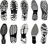 Collection of highly detailed foot prints: