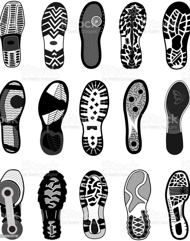 Shoe tracks vector art illustration