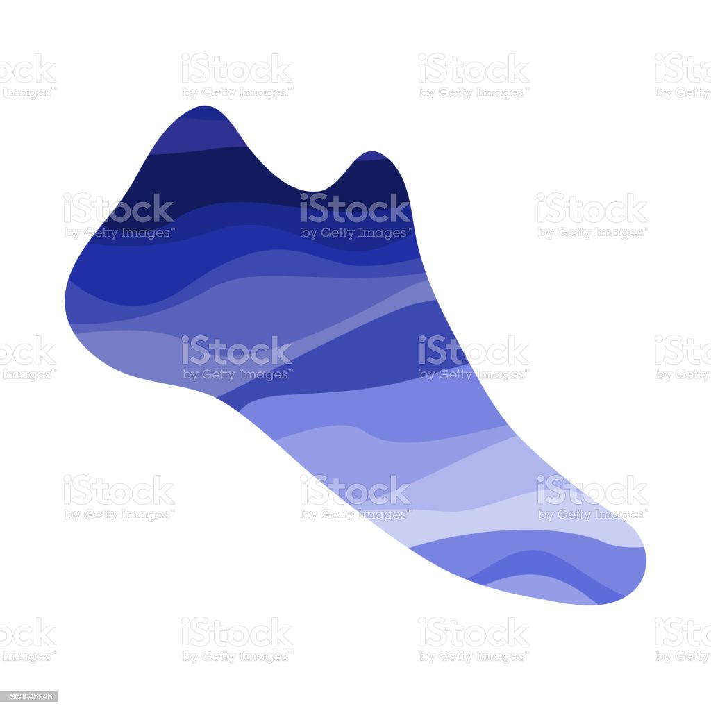 Shoe with a wavy blue pattern - Royalty-free Abstract stock vector
