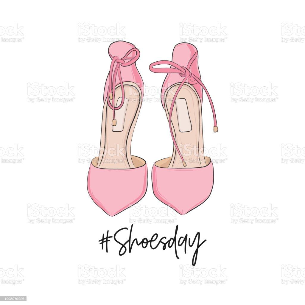 白い背景に分離されたピンクのかかと Shoeday イラスト弓と