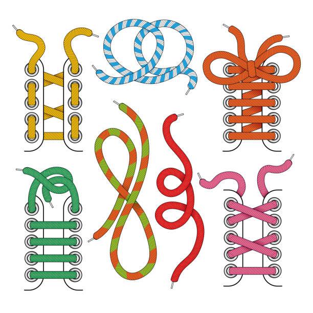 882b59b7d Conjunto de ícones de cadarço - ilustração de arte em vetor