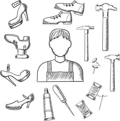 Ilustración De Zapatero Profesión Y Las Herramientas De Dibujo