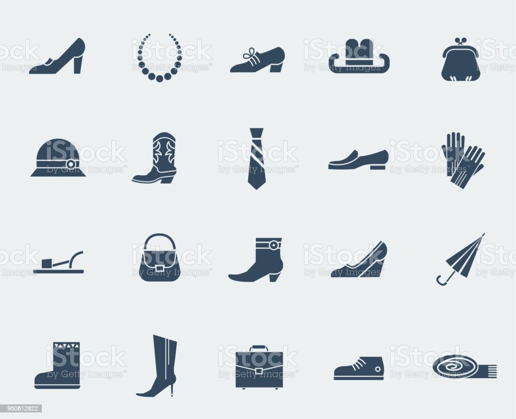 Shoes and accessories icons isolated on white vector art illustration