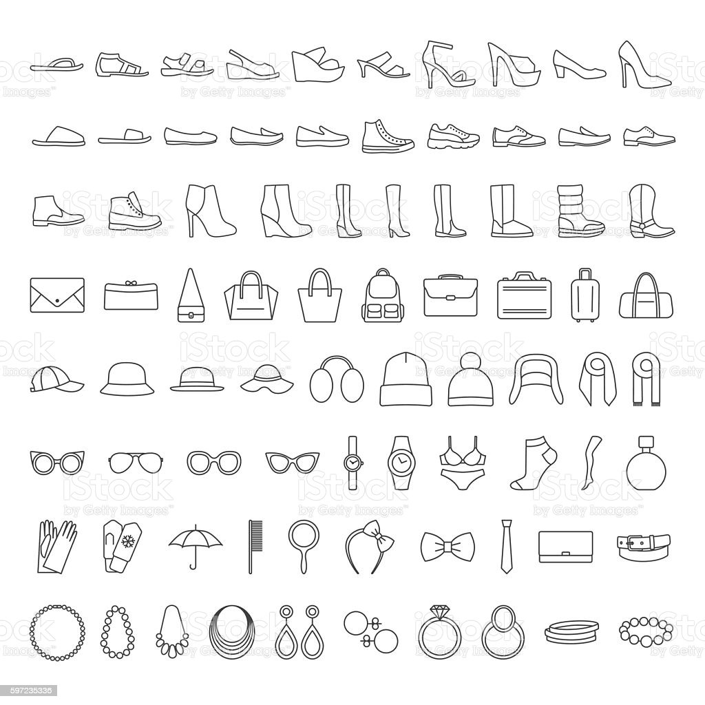 Shoes and accessories line icons ベクターアートイラスト