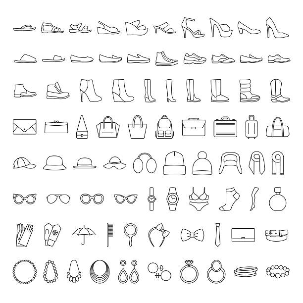 shoes and accessories line icons - 靴のファッション点のイラスト素材/クリップアート素材/マンガ素材/アイコン素材