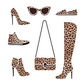 Shoes and accessories with fashionable leopard print