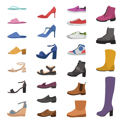 Shoes and boots. Various types footwear, mens, womens and childrens trendy casual, stylish elegant and formal shoes cartoon vector set