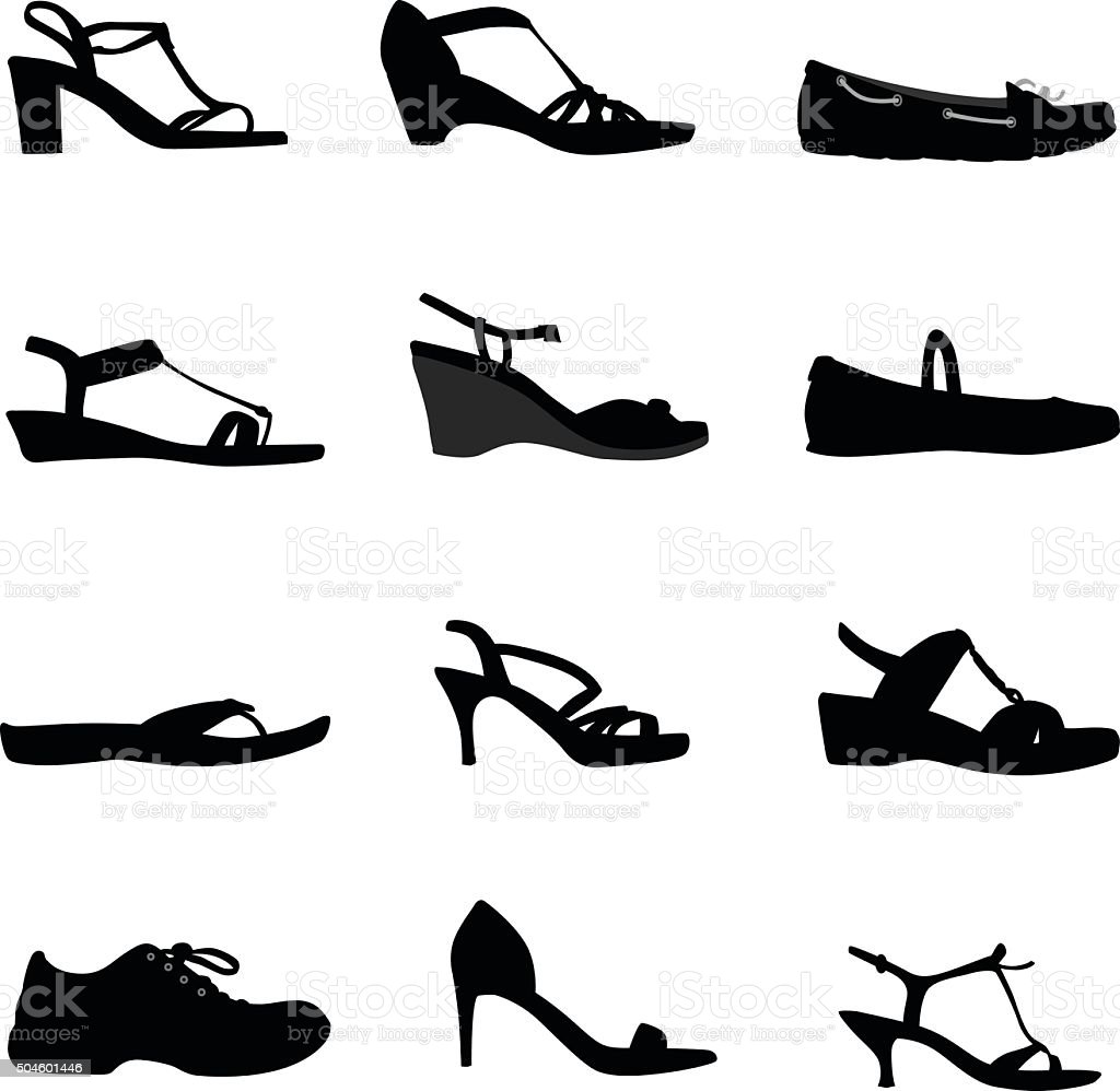 Shoes And Galoches vector art illustration