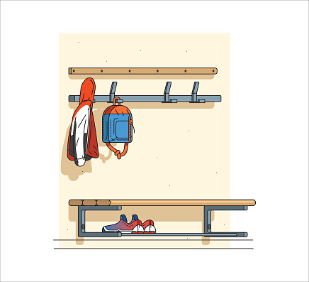 Shoes and jackets from schoolchildren carefully stored outside the classroom to allow for a better study environment. Bag, jacket and shoes belonging to a schoolboy. Leaving things outside the classroom.
