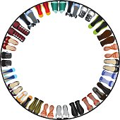 vector illustranion of shoes circle frame