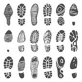 Shoes footprint silhouette. Sneaker shoes step, walking boot shoe steps imprint and man feet boots. Footprints step, leg footstep print isolated vector illustration icons set